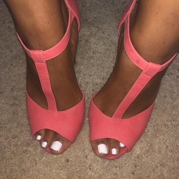 Breckelles Shoes | Coral Platform Heels